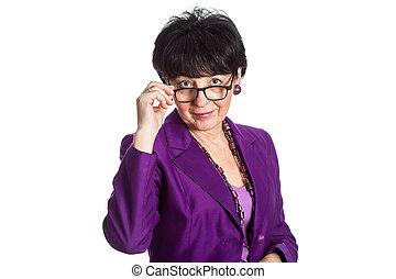 fárasztó, nő, megelégedett, szemüveg