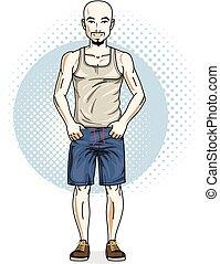 fárasztó, nadrág, atlétikai, öltözék, fiatal, ábra, magabiztos, standing., vektor, ember, kopasz, hím, kényelmes, singlet., jelentékeny