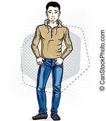 fárasztó, nadrág, farmernadrág, öltözék, fiatal, ábra, magabiztos, pullover., vektor, standing., ember, hím, brunet, kényelmes, jelentékeny