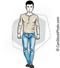 fárasztó, nadrág, farmernadrág, öltözék, fiatal, ábra, magabiztos, standing., vektor, sweatshirt., ember, hím, brunet, kényelmes, jelentékeny