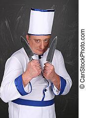 fárasztó, séf, workwear, kés, birtok