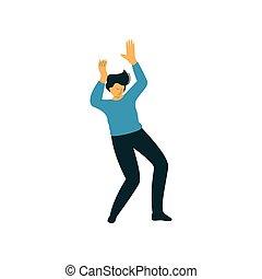 fárasztó, tánc, táncos, betű, öltözék, fiatal, ábra, vektor, hím, kényelmes, ember