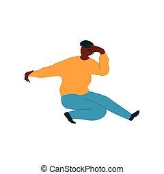fárasztó, tánc, táncos, betű, fiatal, ábra, amerikai, vektor, ember, african hím, kényelmes felöltöztet