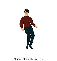 fárasztó, tánc, táncos, betű, fiatal, ábra, vektor, ember, hím, kényelmes felöltöztet