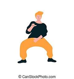 fárasztó, tánc, táncos, modern, betű, fiatal, ábra, táncol, vektor, ember, hím, kényelmes felöltöztet