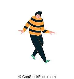 fárasztó, tánc, táncos, túlsúlyú, betű, fiatal, ábra, vektor, ember, hím, kényelmes felöltöztet