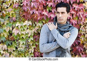 fárasztó, tél, zöld, öltözék, ősz, háttér, ember, jelentékeny