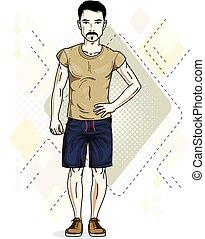 fárasztó, t-shirt., nadrág, öltözék, fiatal, ábra, magabiztos, standing., vektor, ember, hím, brunet, kényelmes, jelentékeny