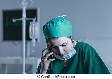 fárasztó, terméketlen, orvos, női, egyenruha