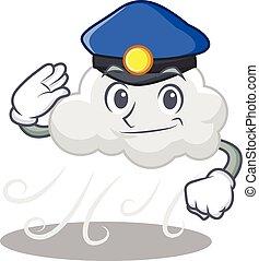 fárasztó, tiszt, rendőrség, felhős, kalap, tervezés, szeles...
