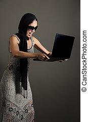 fâché, à, ordinateur portable
