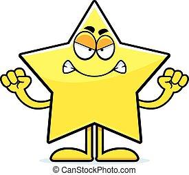 fâché, étoile, dessin animé