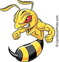 fâché, abeille, isolé, mascotte, dessin animé