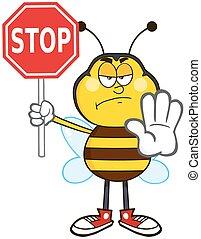 fâché, abeille, tenue, a, stop