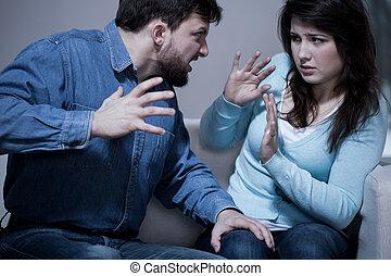 fâché, agressif, mari