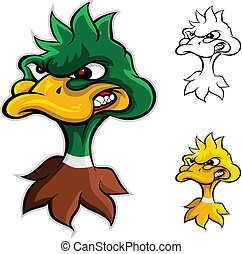 fâché, canard, tête, dessin animé