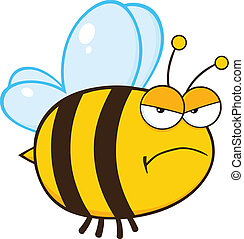fâché, caractère, dessin animé, abeille