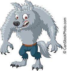 fâché, caractère, dessin animé, loup-garou