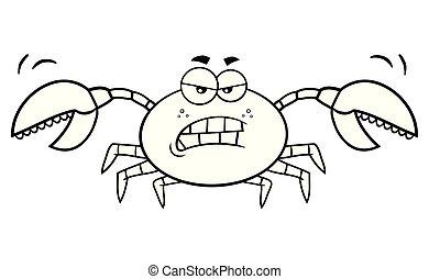 fâché, caractère, noir, crabe, blanc, dessin animé, mascotte