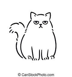 fâché, chat, dessin