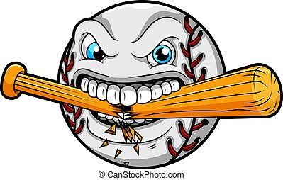 fâché, chauve-souris, base-ball, casse