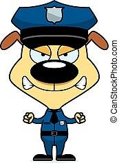 fâché, chiot, police, dessin animé, officier