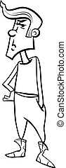 fâché, coloration, adolescent, dessin animé, page
