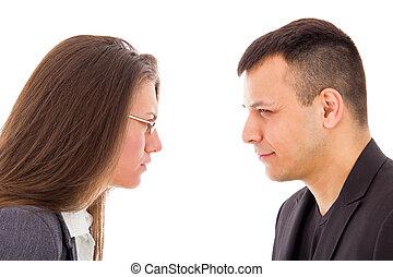 fâché, confiant, autre, chaque, pas, couple