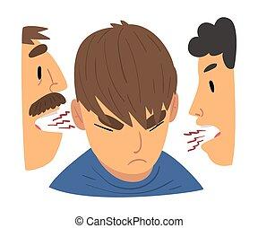 fâché, conflit, avoir, mère, discuter, parents, querelle, rebelle, illustration, fils, vecteur, père, adolescent