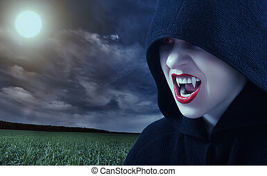fâché, coucher soleil, vampire, femme