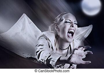 fâché, coups, vampire, femme