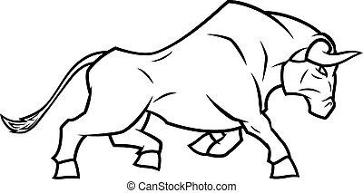 fâché, courant, taureau