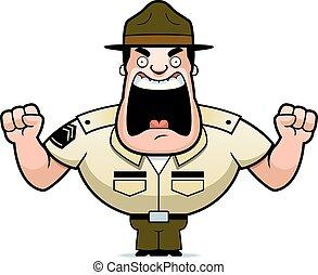 fâché, dessin animé, foret, sergent