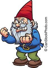 fâché, dessin animé, gnome
