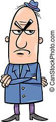 fâché, dessin animé, illustration, homme