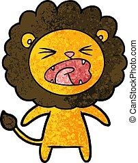fâché, dessin animé, lion