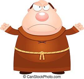 fâché, dessin animé, moine
