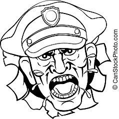 fâché, dessin animé, officier, police, policier
