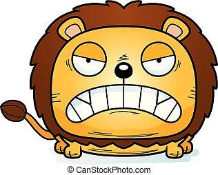 fâché, dessin animé, petit lion