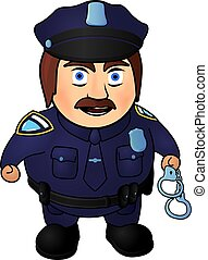 fâché, dessin animé, policier
