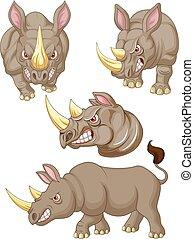 fâché, ensemble, dessin animé, collection, rhinocéros