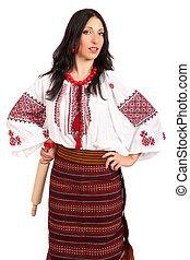 fâché, femme foyer, à, rouler, pin., femme, usures, ukrainien, robe nationale, isolé, blanc, fond