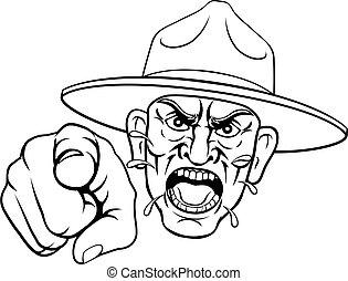 fâché, foret, dessin animé, armée, bootcamp, sergent