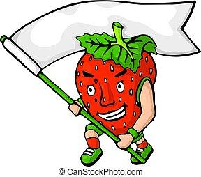 fâché, fraise, drapeau, blanc, dessin animé, rouges