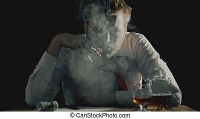 fâché, fumées, patron, non rasé, chef, appareil photo, ...
