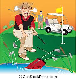 fâché, golfeur