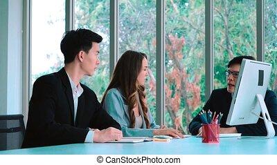 fâché, groupe, réunion, personne, business, travail, conflit, problème