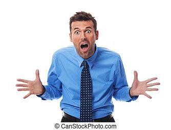 fâché, homme affaires, appareil photo, crier, côté
