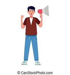 fâché, homme, porte voix, dessin animé, utilisation