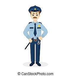 fâché, isolé, policeman.